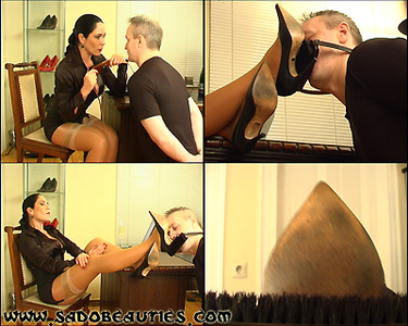 62914 - :: MADAME KYRA :: ''BOSSY LADY GIVING FOOT FETISH TRAINING'' - Foot Fetish and High Heels Fetish with the mean Shoe Brush, Feet Sniffing, Verbal Humiliation, Business Fetish - Part 1 -