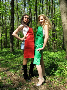 Red & Green aprons in the woods