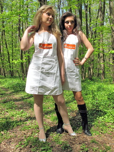 White aprons in the woods