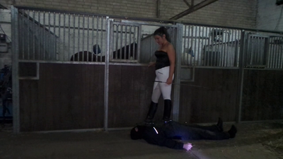 Mistress trampling with horseshit ridingboots