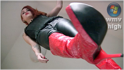 Lady angelina - Red Designer Boots (wmv)