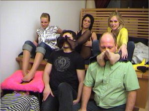 hot foot slavery with three hot girls in nylons