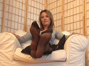 Hot girl and sexy feet in nylons - very hot movie