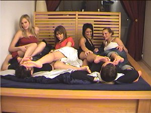 hot foot worship party , 4 sweet girls spoil men with their sweet stinky feet and let them smell their soles anad cute toes