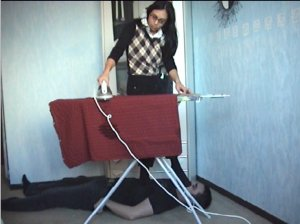 hot trampling movie, sexy lady trampling on footlover while doing housework