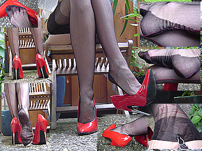 12152 - Sexy nylons and red killer spike heels
