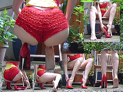 12014 - Red 6inch Spike Heels and red panty in the garden