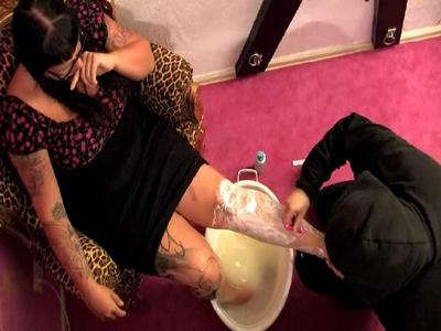 41807 - One of your tasks as 24/7 slave:  The pedicure of your GODDESS!