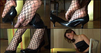 27255 - Jasmine in pumps and fishnet stockings