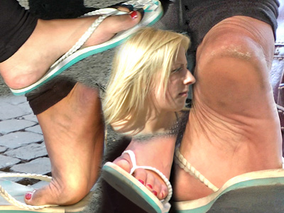 German small feet play in flip flops candids