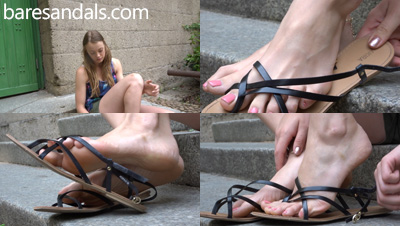 Selena shoeplay in black strappy flat sandals - Update 4143