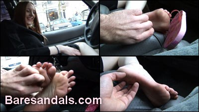 23824 - Beatrice's feet are tickled in the car