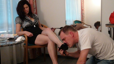 Sadistic mistress cleaning up her slave 5